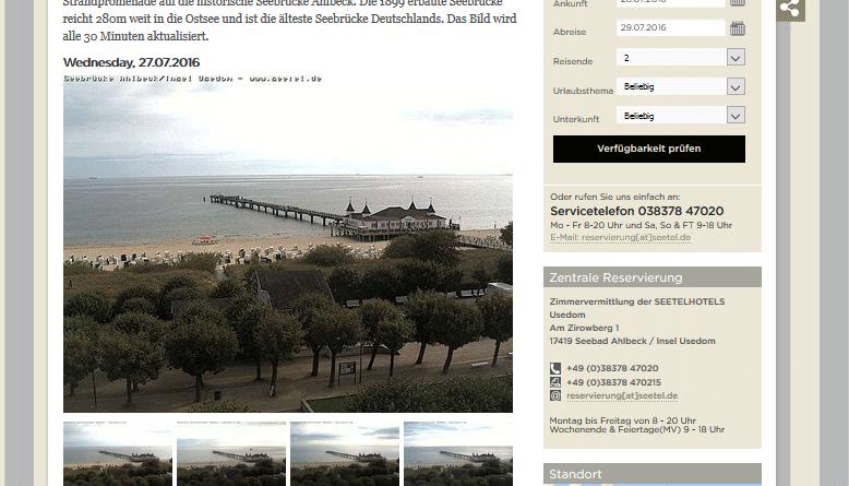 Webcam Ahlbeck mit Blick auf Strand und Seebrücke in Ahlbeck (Usedom)
