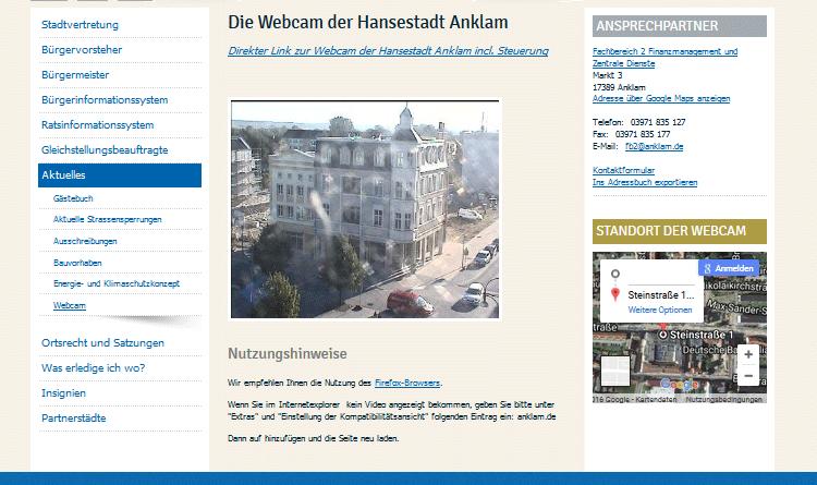 Webcam Anklam Rathausarkaden livecam steuerbar