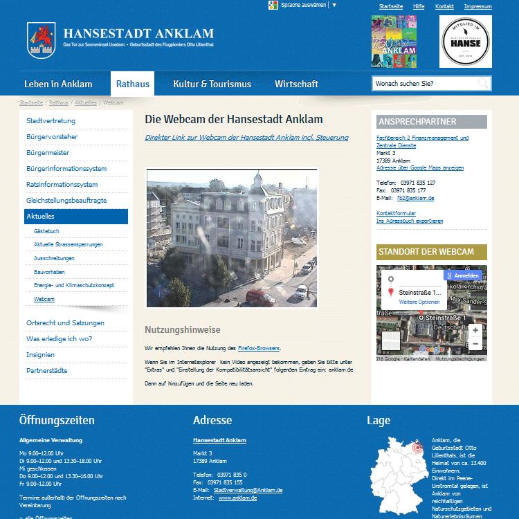 Webcam Anklam - Innensadt mit Rathaus, Arkaden und Marktplatz