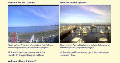 Webcam Glowe, Blick auf Strand und Hafen