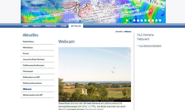 Webcam Kühlungsborn 2 Webcams vom Leibnitz Institut für Atmosphärenphysik