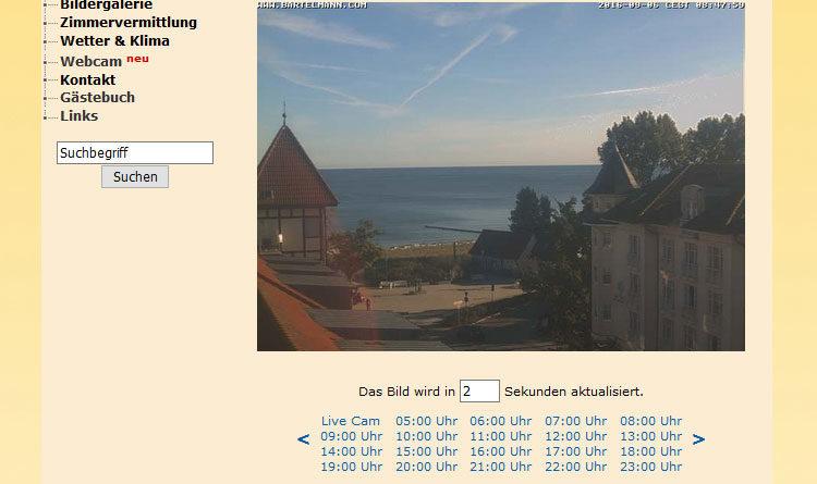 Webcam Kühlungsborn - Blick auf Konzertgarten und Ostsee