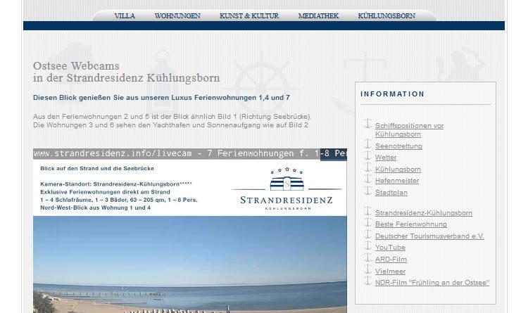 Webcam Kühlungsborn Strandpromenade Seebrücke Strand und Hafen