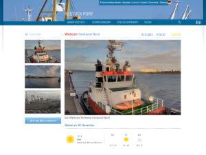 Webcam Rostock Hafen mit 3 Webcams mit Blick auf das Kreuzfahrtterminal in Warnemünde, den Seekanal und das Fährterminal im Seehafen