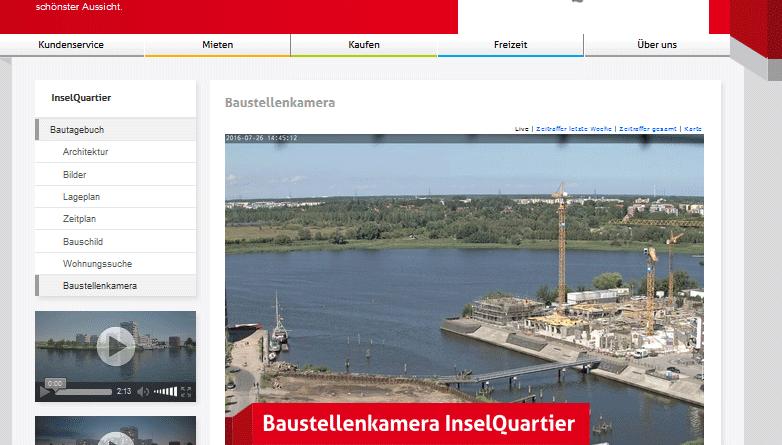 Webcam Rostock Inselquartier Baustelle