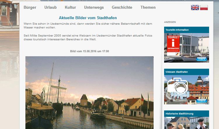 Webcam Ueckermünde Hafen