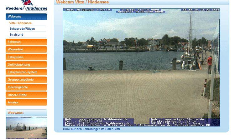 Webcam Hiddensee Fähranleger im Hafen Vitte