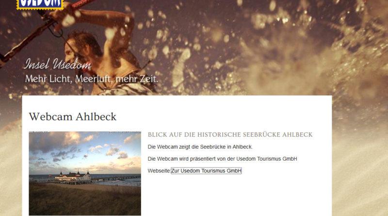 Webcam Ahlbeck mit Blick über den Strand hin zur historischen Seebrücke