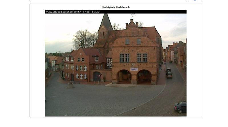 Webcam Gadebusch mit Blick auf den Marktplatz und die Kirche
